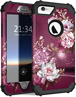 iPhone 6s Case, iPhone 6 Case, Hocase Shockproof Heavy Duty Hard Plastic+Silicone Rubber Bumper Full Body Protective Case w/Cute Floral Design for iPhone 6s/iPhone 6 - Royal Purple/White Flowers