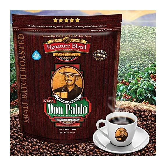 2LB Don Pablo Signature Blend - Medium-Dark Roast - Whole Bean Coffee - Low Acidity - 2 Pound (2 lb) Bag 2 Don Pablo's Special Blend of Colombia, Guatemala, and Brazil Medium to Full Bodied with a Very Smooth Cocoa Toned Finish & Low Acidity Medium-Dark Roast - Whole Bean Arabica Coffee - GMO Free