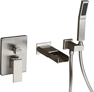 homary waterfall spout wall mounted tub faucet brushed nickel k 12182 cp single