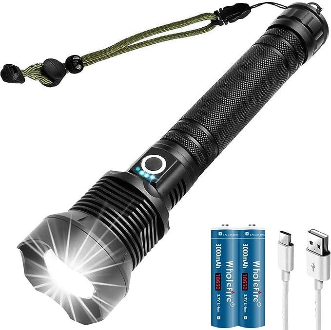 398 opinioni per WholeFire Torcia LED XHP70 Potente Ricaricabile USB, Professionale Torcia