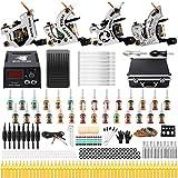 Solong Tattoo Complete Starter Beginner Tattoo Kit 4 Pro Machine Guns 28 Inks Power Supply Foot Pedal Needles Grips Tips TK459