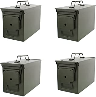 Redneck Convent 50 Cal Metal Ammo Case Cans 4-Pack � Long-Term Shotgun Rifle Gun Ammo Military Army Solid Steel Holder Storage Box
