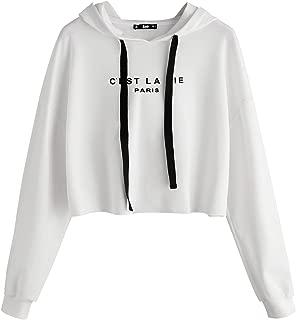 SweatyRocks Women's Letter Print Long Sleeve Crop Top Sweatshirt Hoodies