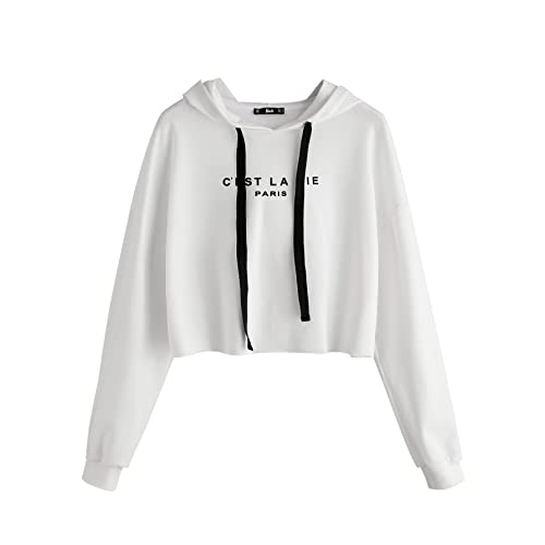 1b24c8c43e26e SweatyRocks Women s Letter Print Long Sleeve Crop Top Sweatshirt Hoodies