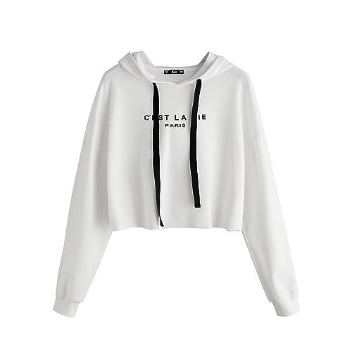 8f62c1359d668 SweatyRocks Women s Letter Print Long Sleeve Crop Top Sweatshirt Hoodies