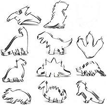 Queta Dinosaurus-koekjes, een set van 11 dinosaurus-koekvormen, roestvrijstalen uitsteekvormen voor taarten, fondant koekj...