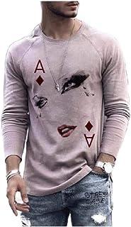HEFASDM Men Blouse T-shirt Tops Crewneck Printed T-Shirt Tunic Shirt