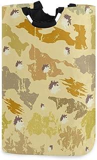 Mnsruu Panier à linge pliable avec poignées Motif camouflage Jaune