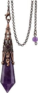 Jovivi Natural Amethyst Crystal 12 Facted Therapy Healing Dowsing Divination Pendulum - Reiki Charged Chakra Balancing Pendant with Chain