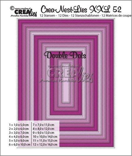 Crealies Crea-nest-dies XXL no. 52 Doppel Dots Rechtecke