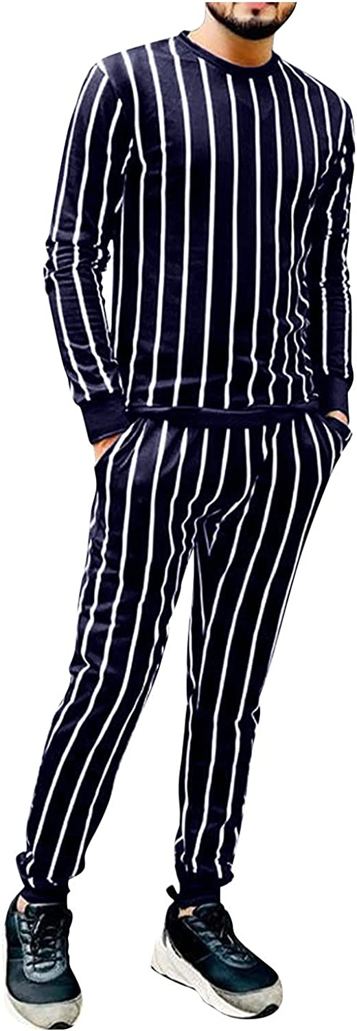 FUNEY Men's Cotton Striped Long Sleeve Pullover Tops and Pants Sweatsuit Set Slim Fit 2 Piece Lounge Wear Outfits Tracksuit
