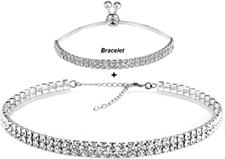 EFTOM Eoumy Women Crystal Choker Necklace Gold Silver Cup Chain Clear Rhinestone Necklace 1 or 2pcs Pack
