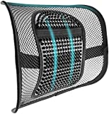 """Samyoung Mesh Back Support, Adjustable Mesh Lumbar Support Seat Cushion with Breathable Mesh Construction for Office Chairs Car Seats 12"""" x 16"""""""