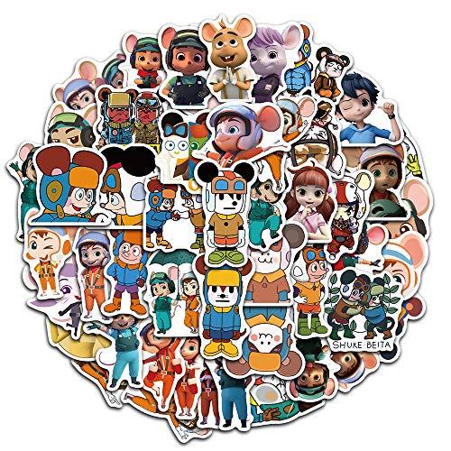 50 hojas de dibujos animados Shuk y Beta decorativas de graffiti pegatinas impermeables para maleta, funda para teléfono móvil