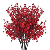 AILANDA 6 Bundles Red Babys Breath Artificial Flowers Stems Bush Valentines Day Decoration Fake Silk Plants Real Touch Gypsophila Bouquets for Home Garden Wedding Party Farmhouse Floral Arrangement