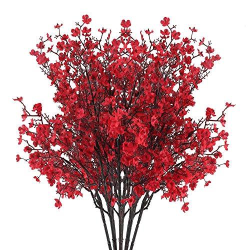 AILANDA 6 Bundles Babys Breath Artificial Flowers Red Real Touch Faux Gypsophila Bouquet Fake Silk Plants Decor for Home Wedding Bouquets Floral Arrangement Party Table Centerpieces