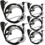 Tenq 5pack 1 Pin Covert Acoustic Tube Earpiece Headset for Motorola Walkie Talkie Two Way Radio 1pin