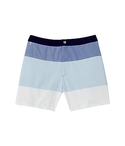 Lacoste Color-Block Stripe Swim Trunks with Button Summer (Navy Blue/Purpy/Rill/Flour) Men
