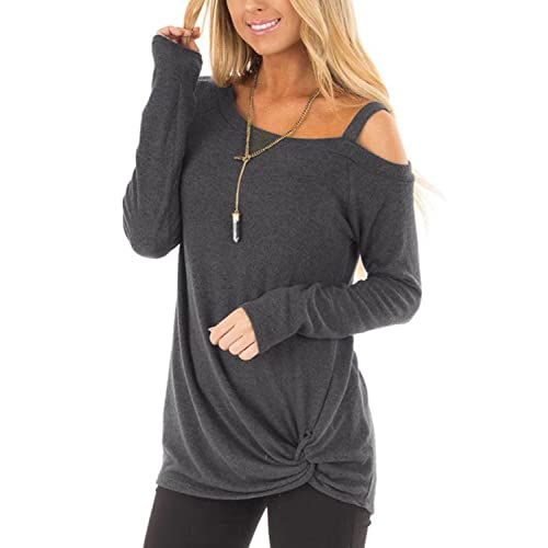 461469e4cc YOINS Women Tops Crossed Front Plain One Shoulder Loose fit Long Sleeves  T-Shirt