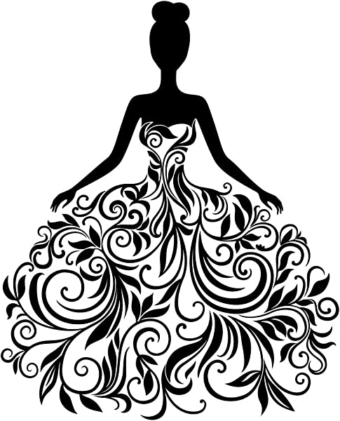 BooDecal Vinyl Removable Wall Stickers Mural Decal Art Family Decals Pretty Girl Silhouette Sexy Dress For Living Room Bedroom Clothes Shop 16 Inches X 19 Inches