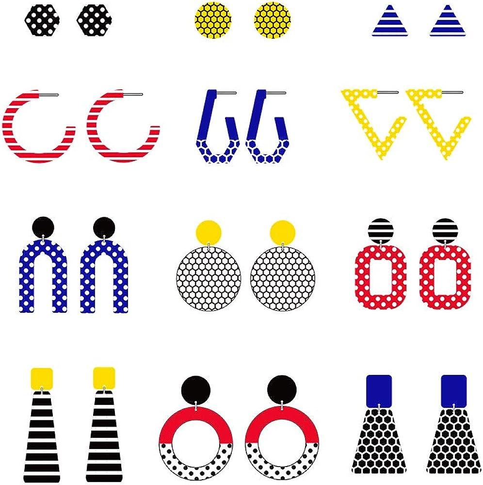 12 pairs 50's Retro Geometric Earrings For Women