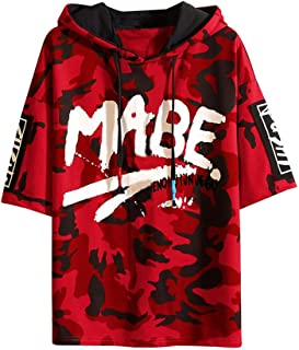 TOPUNDER Mens Summer Fashion Camouflage Printing Hoodie T-Shirts Short Sleeves Top Blouse