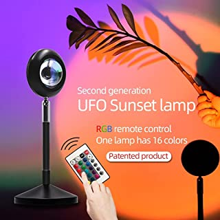 2021 Nouvelle lumière colorée Coucher de soleil, rotation à 180 degrés, 14 couleurs statiques + coucher de soleil rouge, l...