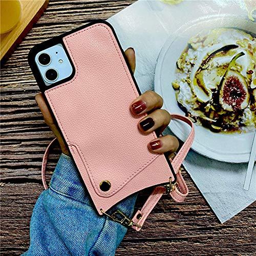 Estuche para teléfono tipo bandolera Caja del teléfono de la cartera de la billetera Crossbody Crossbody del hombro para el iPhone 7 8 6 6S PLUS X XR XS 11 PRO MAX SE 2020 CUBIERTA DE LA TARJETA DE CR
