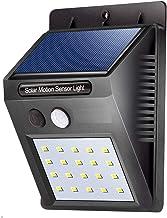 EAYIRA 20 LED Bright Outdoor Security Lights with Motion Sensor Solar Powered Wireless Waterproof Night Spotlight for Outdoor/Garden Wall - 9.7 x 4.8 x 12.4 cm, Black