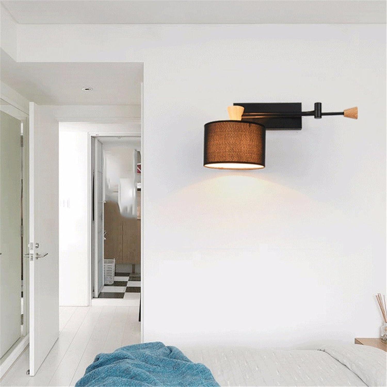 SiwuxieLamp Wandleuchte Dekoratives Schlafzimmer des modernen Restaurantgewebes modernes unbedeutendes Wohnzimmer-Schmiedeeisen, schwarz Halterung Licht