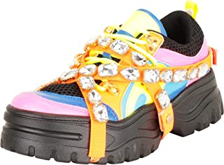 Cambridge Select Women's Retro 90s Ugly Dad Crisscross Strappy Crystal Rhinestone Chunky Platform Fashion Sneaker
