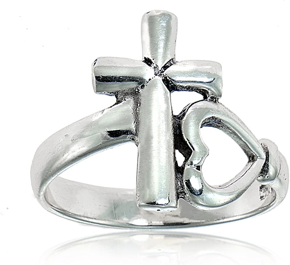 Sterling Silver High Polished Soldering Max 42% OFF Cross Sideways R and Heart Promise
