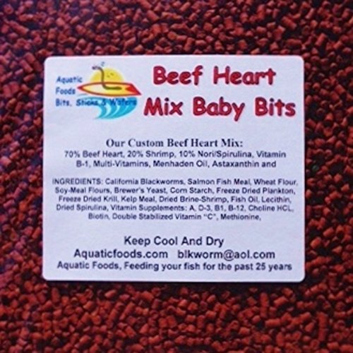 Aquatic Foods Inc. S&B Beef Heart Mix Baby Bits for Discus, Cichlids, Bottom Fish, All Types of Fish…1/8-lb