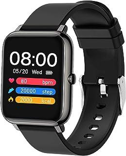 Popglory Montre connectée Femme Homme Smartwatch Cadiofréquencemètre Moniteur de Sommeil Pression Artérielle Montre Intelligente Compatible Android iOS