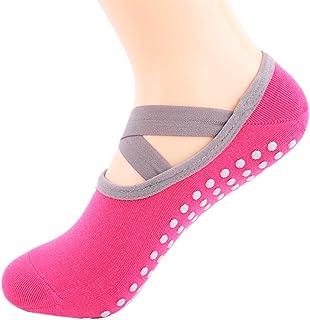 Glueckme, Glueckme Calcetines de Yoga para Mujer Calcetines Deportivos Antideslizantes Zapatilla de Ballet Tacón Protector de Baile Barre Workout Fitness Calcetín de Pilates