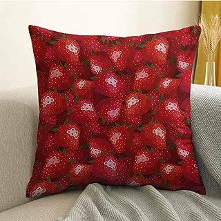 Antony Petty Red Printed Custom Pillowcase Fruit Theme Illustration Strawberries Pattern Vibrant Ripe Juicy Organic Food Decorative Sofa Hug Pillowcase W16 x L16 Inch Jade Green and Red