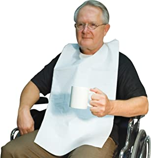 Disposable Adult Tie-Back Poly Bibs (Set of 50)