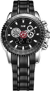 Military Watch TVG Luxury Fashion Brand Watch Men's Steel Belt Calendar Week Multi-Function Dual Time Zone Watch