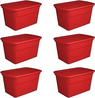Sterilite 30 Gallon Seasonal Storage Tote, Red (6 Pack)