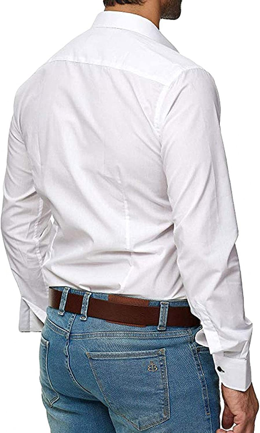 KEEYO Mens Casual Dress Shirts Long Sleeve Muscle Fit Business Work Wrinkle-Free Button Down Cotton Plain Shirts Tops