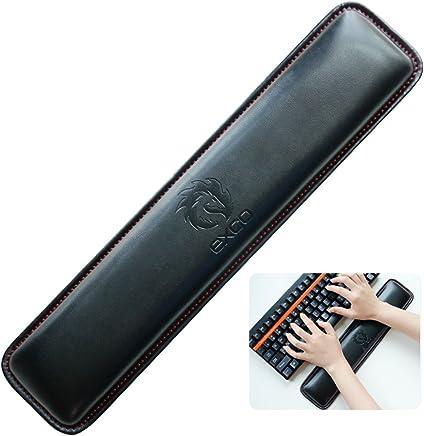 Almohadilla para el descanso de la muñeca del pequeño teclado de la PU --- EXCO PU Bozal largo para el teclado - Exco Muñeca reclinable, espuma de memoria antideslizante Palma negra Alfombrilla de ratón de cuero PU