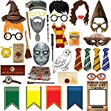 38pcs Magical Wizard Party Photo Booth Props,Wizard Castle Party Photo Booth Props, Magical Wizard School Party Favors Supplies For Kids Children Birthday Party Decoration