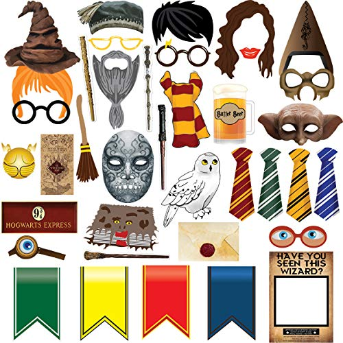 TMCCE 38pcs Magical Wizard Party Photo Booth Props,Wizard Castle Party Photo Booth Props
