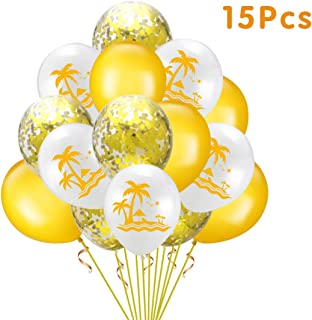 NW 1776 Balloon Garland Set-Confetti Balloon Artificial Palm Leaves boy Girl Party Birthday Wedding Hawaii White Golden Ho...