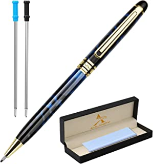 Twist Ballpoint Pen, Luxury Gift Writing Pen,Cool Personalized Pen,Business Executive Pens with Gold Trim,2 Extra1.0mm Medium Fine Point Refills for Women Men (Swirl of Blue Body)