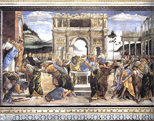 """Sandro Botticelli The Punishment of Korah and The Stoning of Moses and Aaron 1482 Cappella Sistina - Vatican City 30"""" x 24"""" Fine Art Giclee Canvas Print (Unframed) Reproduction"""