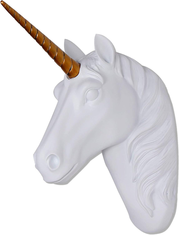 Unicorn Head Wall Mount White Unicorn Head Sculpture With Gold H