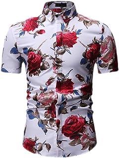 neveraway Men Cotton Floral Printed Slim Fit Short-Sleeve Summer Button Down Shirt