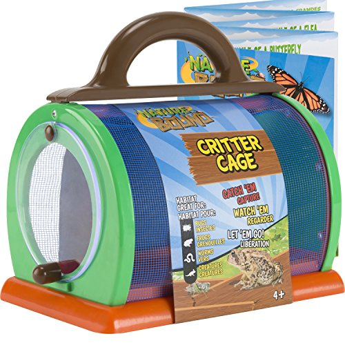 "Nature Bound Toys Critter Cage Bug Catcher and Habitat Kit, Insect Netting, and Activity Booklet, Green, for Kids, 8.5"" x 5.75"" x 8"""