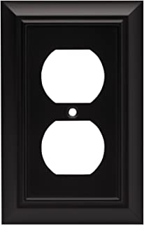 Architectural Single Duplex Outlet  Wall Plate / Switch Plate / Cover, Flat Black